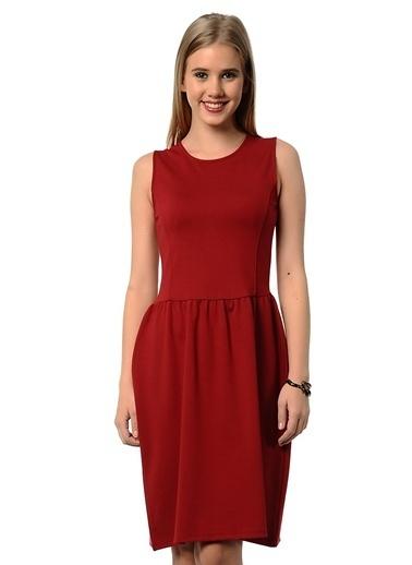 Asymmetry Kolsuz Kloş Elbise Bordo